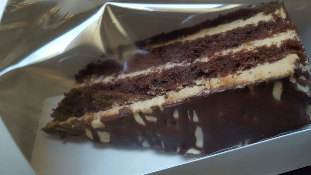 """Photo of My Heart Beats Vegan  by <a href=""""/members/profile/VeganScientist"""">VeganScientist</a> <br/>chocolate peanut butter cake to go <br/> September 8, 2016  - <a href='/contact/abuse/image/53725/174319'>Report</a>"""