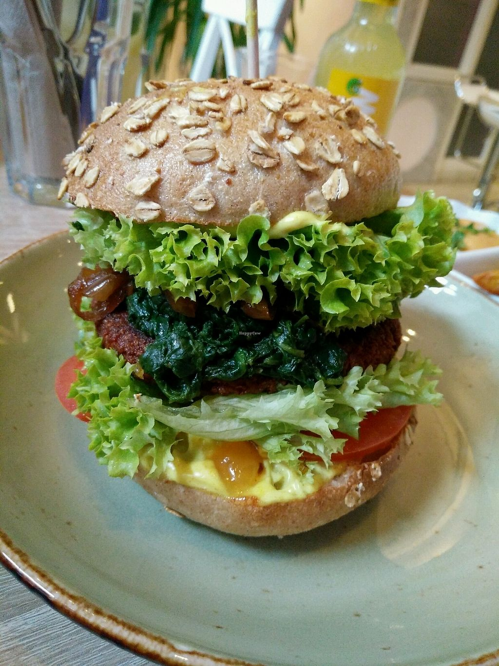 """Photo of My Heart Beats Vegan  by <a href=""""/members/profile/AnnaJohnson"""">AnnaJohnson</a> <br/>Bombay Burger mit Mango chutney, Currycreme und gedünstetem Spinat  <br/> March 3, 2018  - <a href='/contact/abuse/image/53725/366279'>Report</a>"""