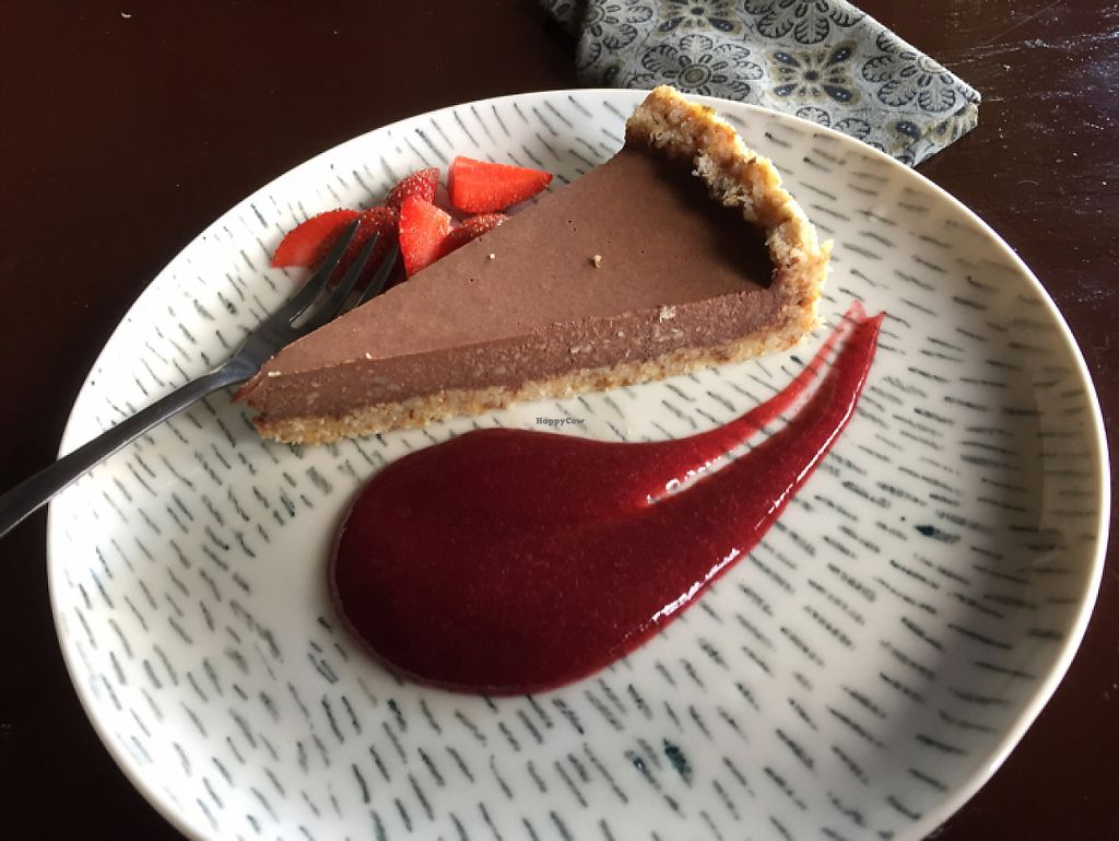 """Photo of Elephant Cafe  by <a href=""""/members/profile/SusanRoberts"""">SusanRoberts</a> <br/>vegan raw chocolate pie with strawberry sauce <br/> May 22, 2017  - <a href='/contact/abuse/image/53736/261288'>Report</a>"""