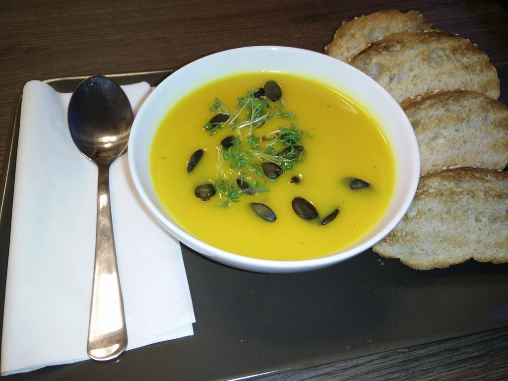 """Photo of CLOSED: Venjoy  by <a href=""""/members/profile/Venjoy"""">Venjoy</a> <br/>Cream Soups are also available and are changing nearly every day. This time: Pumpkin Coconut. They come with some bread next to it <br/> January 13, 2015  - <a href='/contact/abuse/image/53745/90331'>Report</a>"""
