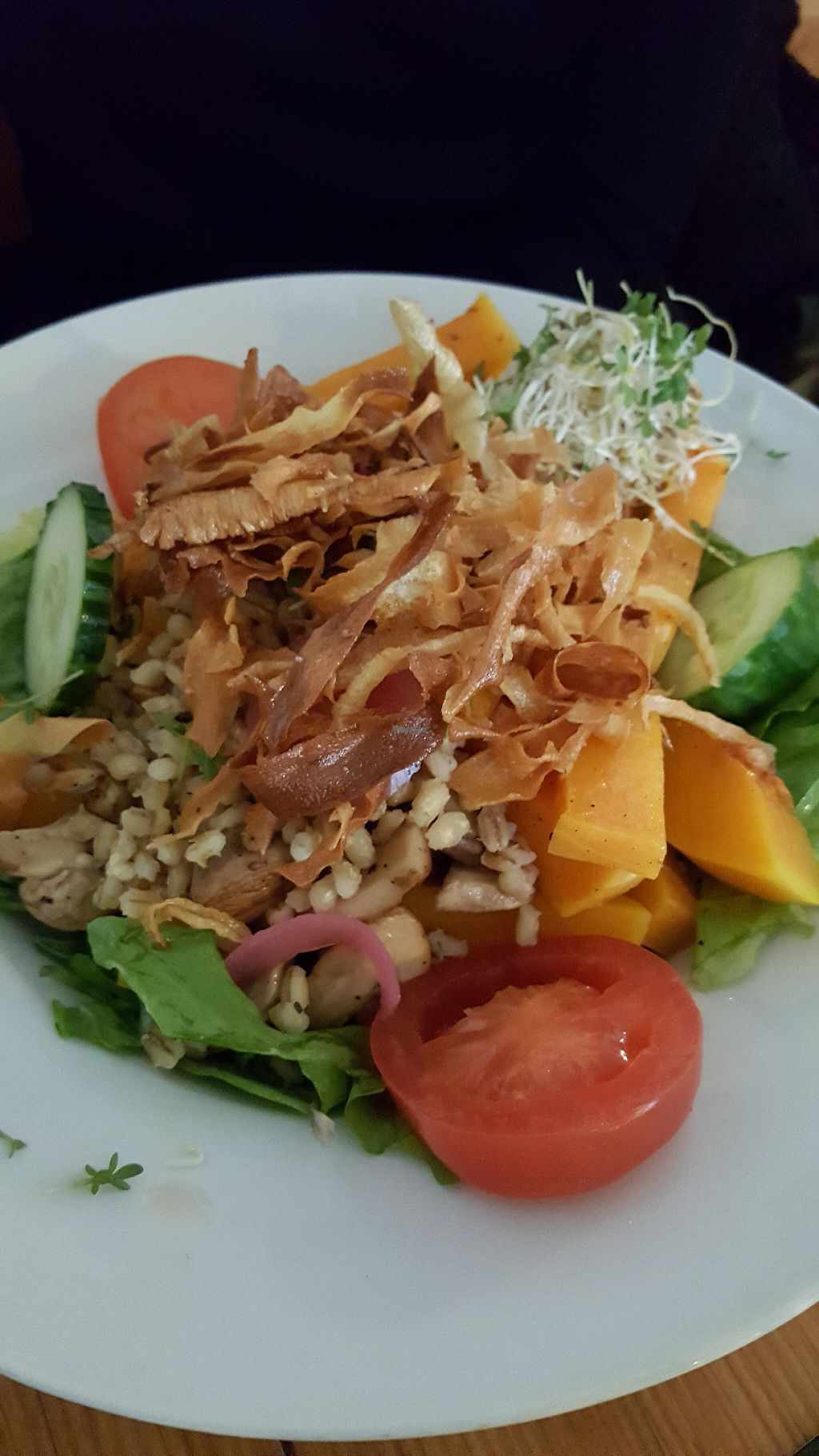 """Photo of GYS  by <a href=""""/members/profile/AlanDrummer"""">AlanDrummer</a> <br/>Roasted pumpkin, parsnip chips, barley and green leafy salad... very filling and tasty ... and vegan <br/> April 9, 2017  - <a href='/contact/abuse/image/53767/246313'>Report</a>"""