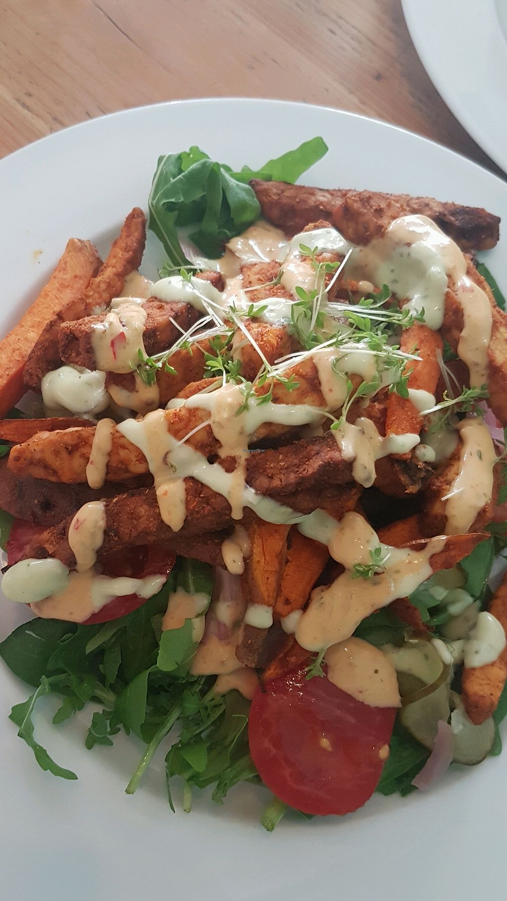 """Photo of GYS  by <a href=""""/members/profile/VeganCrush"""">VeganCrush</a> <br/>fried tempeh and sweet potato on salad <br/> September 26, 2017  - <a href='/contact/abuse/image/53767/308613'>Report</a>"""