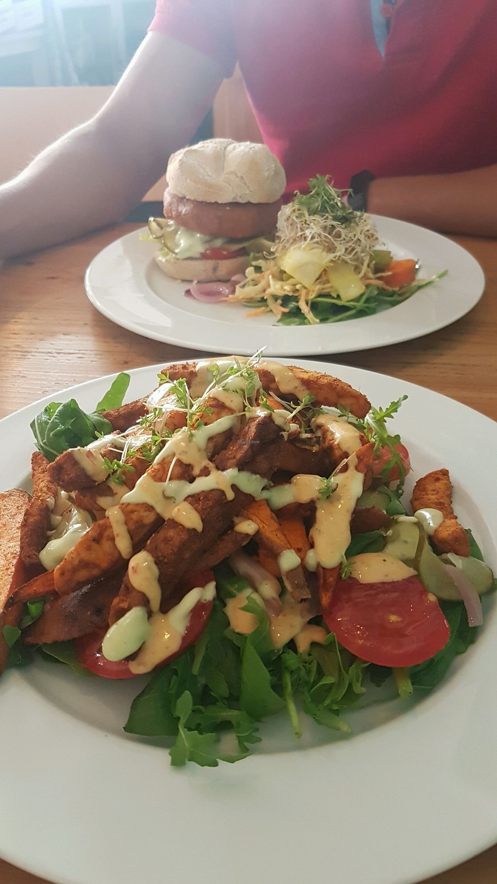 """Photo of GYS  by <a href=""""/members/profile/VeganCrush"""">VeganCrush</a> <br/>veggie burger and tempeh french fries sweet potato <br/> September 26, 2017  - <a href='/contact/abuse/image/53767/308615'>Report</a>"""