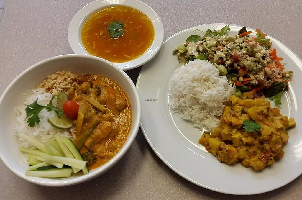 """Photo of Good Karma Cafe  by <a href=""""/members/profile/rstrampello6570"""">rstrampello6570</a> <br/>Malaysian Curry, Rice, Veg, and Soup <br/> December 13, 2014  - <a href='/contact/abuse/image/53789/201379'>Report</a>"""