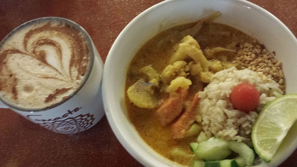 """Photo of Good Karma Cafe  by <a href=""""/members/profile/vegbaker"""">vegbaker</a> <br/>My go to favorite meal : Malaysian Curry Bowl ♡♡♡ I usually get a juice or lavender matcha latte, today I tried the Swan and fell in love! <br/> January 9, 2017  - <a href='/contact/abuse/image/53789/210143'>Report</a>"""