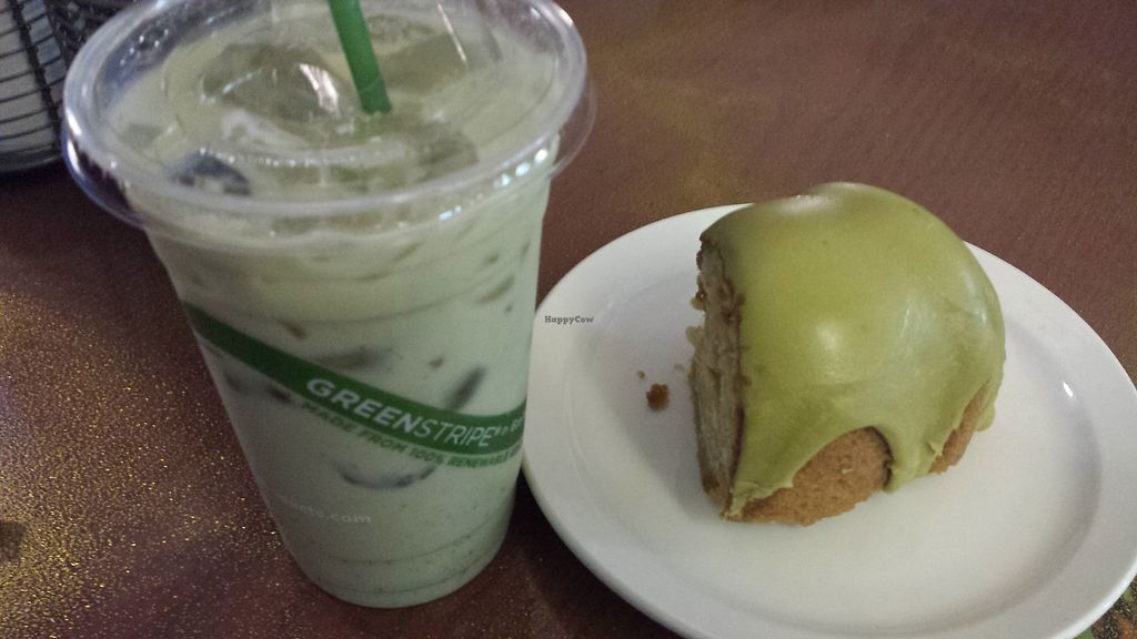 """Photo of Good Karma Cafe  by <a href=""""/members/profile/vegbaker"""">vegbaker</a> <br/>Iced lavender matcha latte with lavender matcha cake <br/> August 26, 2017  - <a href='/contact/abuse/image/53789/297413'>Report</a>"""