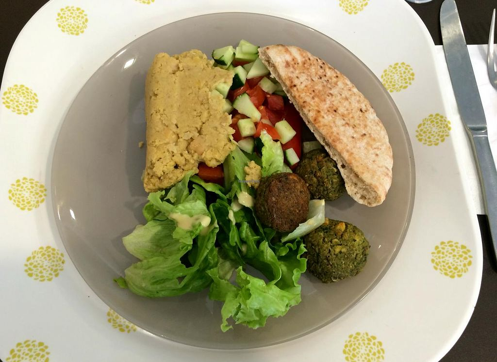 """Photo of Le Balagan  by <a href=""""/members/profile/LisaCupcake"""">LisaCupcake</a> <br/>Falafel with hummus and salad <br/> June 26, 2015  - <a href='/contact/abuse/image/53812/107321'>Report</a>"""