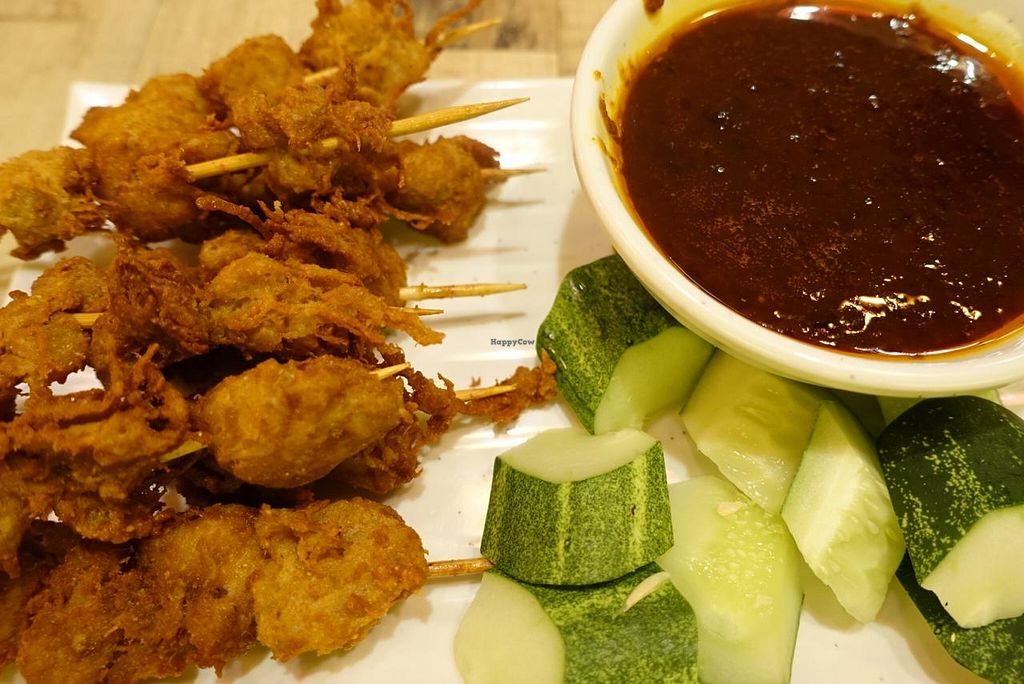 "Photo of Nature Cafe - The Aperia  by <a href=""/members/profile/JimmySeah"">JimmySeah</a> <br/>satay (bbq mock meat) + sauce  <br/> February 20, 2015  - <a href='/contact/abuse/image/53815/93548'>Report</a>"