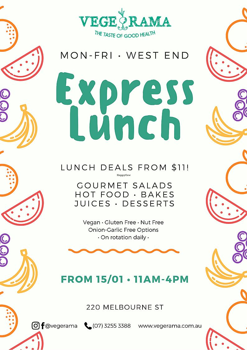 "Photo of Vege Rama - West End  by <a href=""/members/profile/PameSR"">PameSR</a> <br/>Express Lunch from Mon - Fri, 11 am to 4 pm.