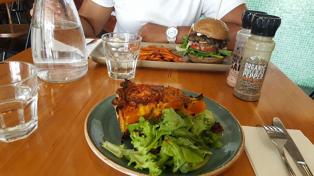 "Photo of Vege Rama - West End  by <a href=""/members/profile/nafanc"">nafanc</a> <br/>Frittata + bean burger <br/> February 10, 2018  - <a href='/contact/abuse/image/53850/357182'>Report</a>"