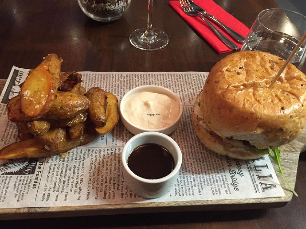 "Photo of Vege Rama - West End  by <a href=""/members/profile/RobBohmer"">RobBohmer</a> <br/>black bean burger  <br/> March 15, 2015  - <a href='/contact/abuse/image/53850/95792'>Report</a>"