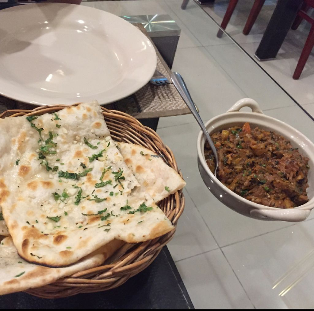 """Photo of Diamond Restaurant  by <a href=""""/members/profile/walkr"""">walkr</a> <br/>Baingan Bharta and Garlic Naan <br/> January 1, 2017  - <a href='/contact/abuse/image/53882/206747'>Report</a>"""