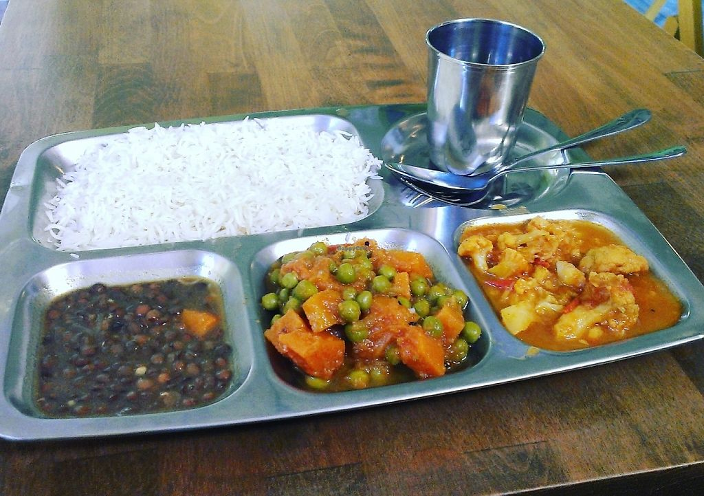 """Photo of Thali - Dunajska  by <a href=""""/members/profile/Nikolate"""">Nikolate</a> <br/>Thali with all vegan options <br/> October 10, 2015  - <a href='/contact/abuse/image/53897/243636'>Report</a>"""