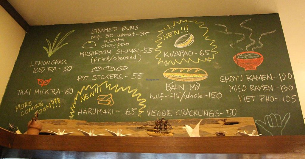 """Photo of Wabi-Sabi Noodle House and Vegetarian Grocery - Tomas Morato  by <a href=""""/members/profile/kezia"""">kezia</a> <br/>The delicious menu at Wabi-Sabi <br/> January 29, 2015  - <a href='/contact/abuse/image/53914/91677'>Report</a>"""