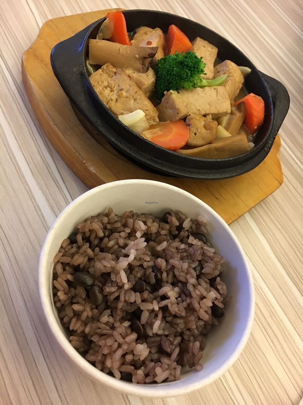 "Photo of Ga Mi Shu Shi - Rice Revolution  by <a href=""/members/profile/sousuneautrelentille"">sousuneautrelentille</a> <br/>Tofu and veg with rice and beans.  <br/> February 28, 2018  - <a href='/contact/abuse/image/53918/364800'>Report</a>"