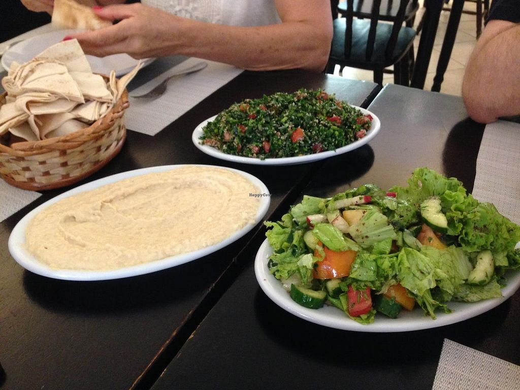 """Photo of Casa Libano  by <a href=""""/members/profile/Paolla"""">Paolla</a> <br/>Classic veggie items: hummus, tabbouleh, fattoush <br/> January 5, 2015  - <a href='/contact/abuse/image/53967/89603'>Report</a>"""