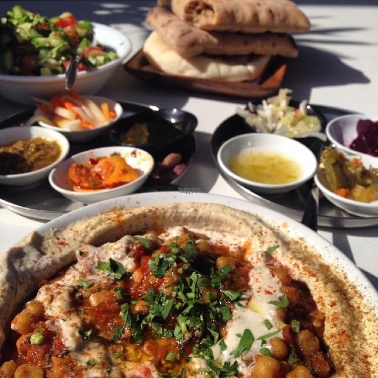 """Photo of Etzel Micha - Micha's Humus  by <a href=""""/members/profile/Oreng1976"""">Oreng1976</a> <br/>Delicious Vegan lunch At Micha's Hummus <br/> October 4, 2016  - <a href='/contact/abuse/image/53979/179675'>Report</a>"""