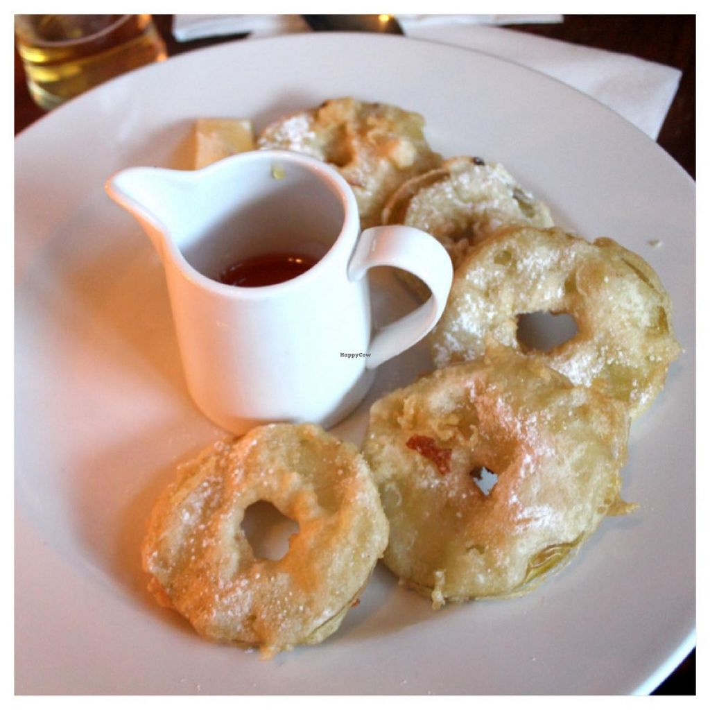 """Photo of The Red Lion Pub  by <a href=""""/members/profile/kezia"""">kezia</a> <br/>battered, deep fried Brambly apple rings, dusted with sugar, with golden syrup - Vegan <br/> December 22, 2014  - <a href='/contact/abuse/image/54003/88500'>Report</a>"""