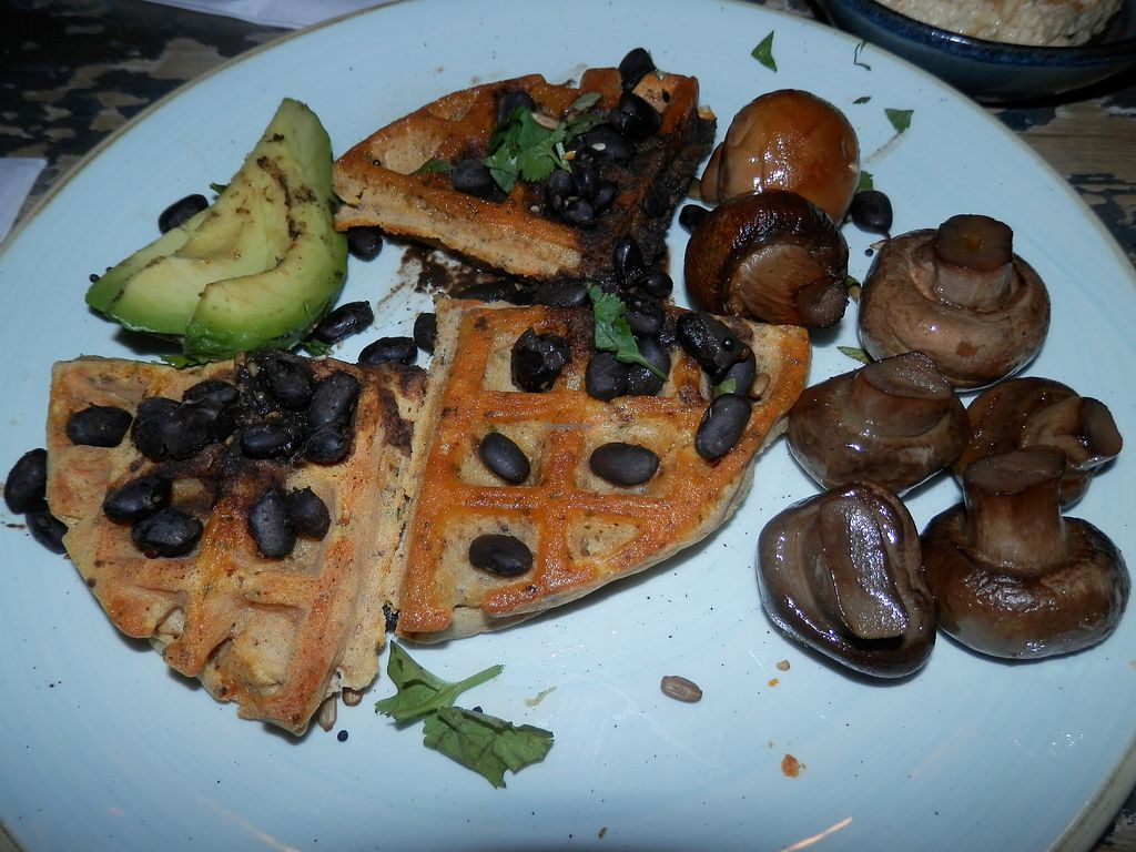 """Photo of Argo Lounge  by <a href=""""/members/profile/Vegan_Belle"""">Vegan_Belle</a> <br/>Sweet potato waffles, black beans, avocado, fried mushrooms and herbs <br/> October 26, 2017  - <a href='/contact/abuse/image/54054/318997'>Report</a>"""