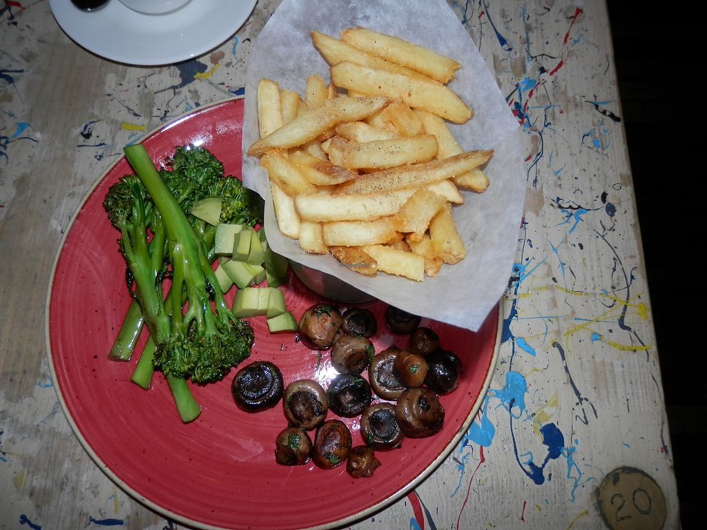 """Photo of Argo Lounge  by <a href=""""/members/profile/Vegan_Belle"""">Vegan_Belle</a> <br/>Fries, mushrooms, avocado and tenderstem broccoli with chilli and garlic <br/> December 10, 2017  - <a href='/contact/abuse/image/54054/334265'>Report</a>"""