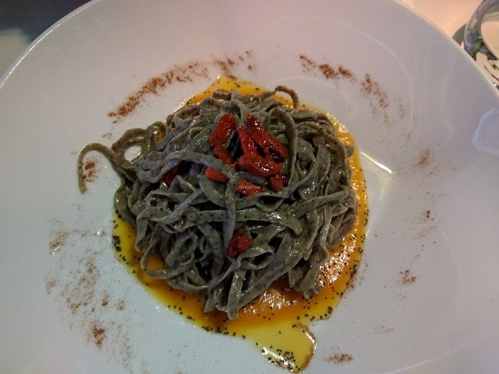 "Photo of Mario alla Fava  by <a href=""/members/profile/ThePeanutButterCorgi"">ThePeanutButterCorgi</a> <br/>Hemp tagliolini with pumpkin cream, goji berries, poppy seeds and cinnamon <br/> May 27, 2017  - <a href='/contact/abuse/image/54087/263159'>Report</a>"