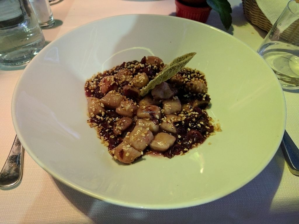 "Photo of Mario alla Fava  by <a href=""/members/profile/ThePeanutButterCorgi"">ThePeanutButterCorgi</a> <br/>Homemade potato gnocchi with red chicory and hazelnut flavoured with sage <br/> May 27, 2017  - <a href='/contact/abuse/image/54087/263160'>Report</a>"