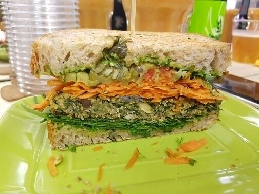 """Photo of Rumi Bottega Organica  by <a href=""""/members/profile/mfrenette"""">mfrenette</a> <br/>Vegan sandwich with a quinoa, olive and spinach patty <br/> August 30, 2016  - <a href='/contact/abuse/image/54114/172331'>Report</a>"""