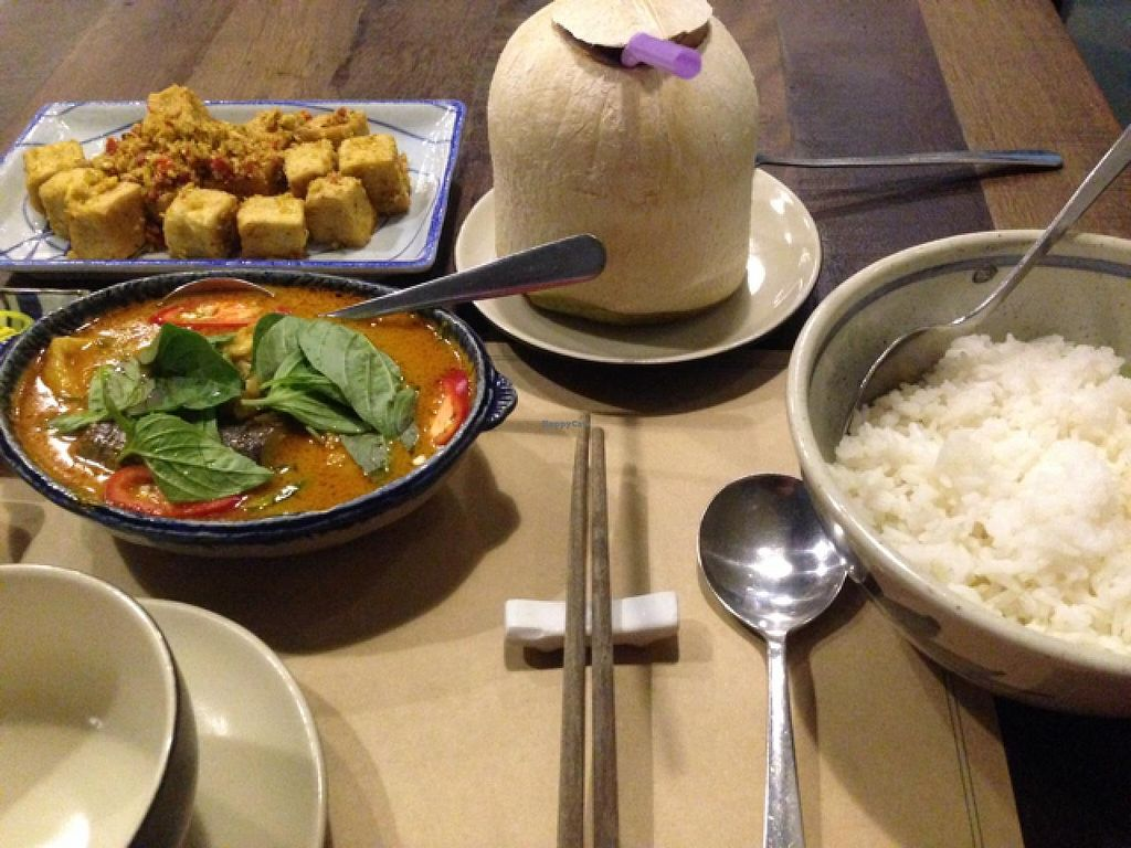 "Photo of Tib Restaurant - Phan Ke Binh  by <a href=""/members/profile/VeganBiker"">VeganBiker</a> <br/>Lemongrass Tofu, Curry, Coconut Water, Rice! <br/> January 28, 2015  - <a href='/contact/abuse/image/54144/91525'>Report</a>"