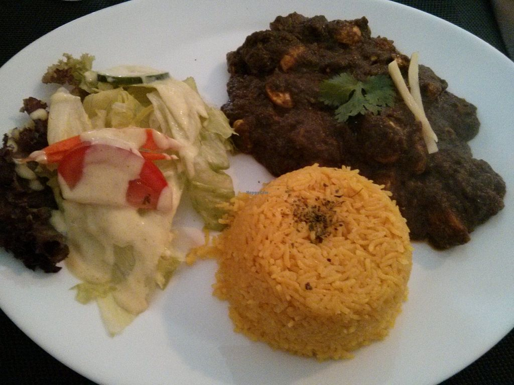 """Photo of Tara Indian Dhaba  by <a href=""""/members/profile/hadasalex"""">hadasalex</a> <br/>rice with spinach sauce + mushrooms <br/> October 17, 2015  - <a href='/contact/abuse/image/54153/121655'>Report</a>"""