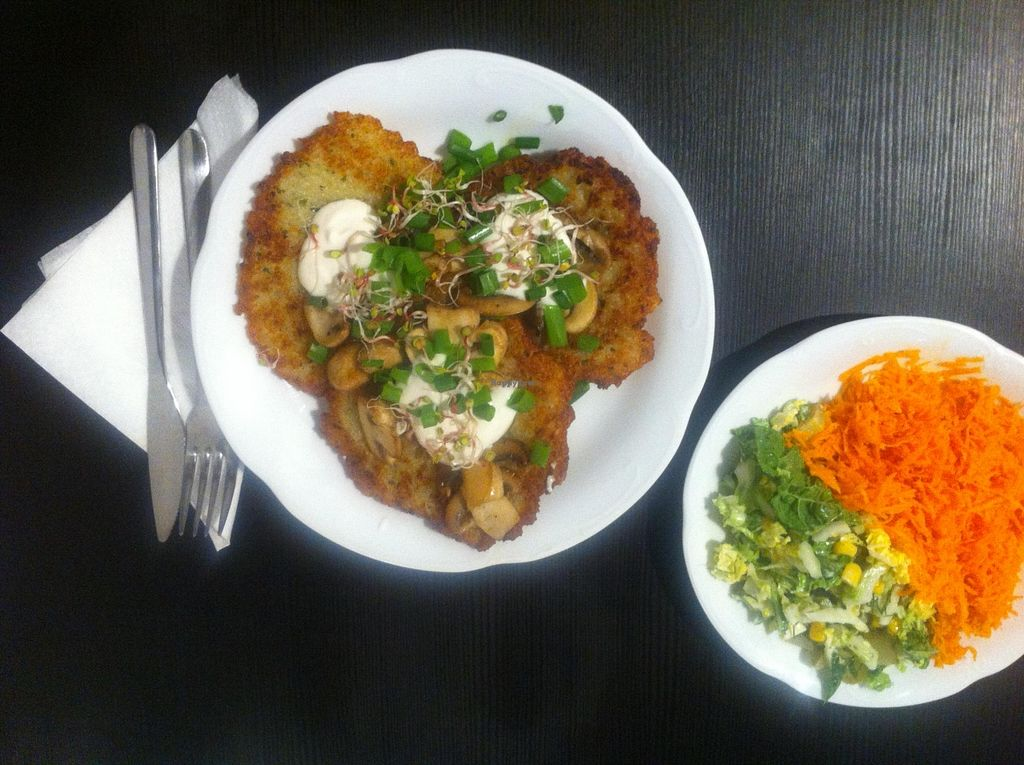 "Photo of Tofu Bistro  by <a href=""/members/profile/Basia%20F."">Basia F.</a> <br/>Potato pancakes with side salad, very delicious! <br/> March 22, 2016  - <a href='/contact/abuse/image/54189/140973'>Report</a>"