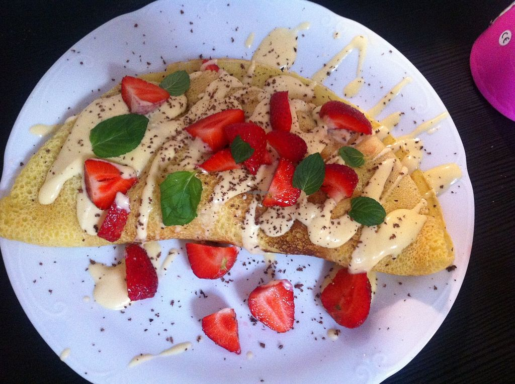 "Photo of Tofu Bistro  by <a href=""/members/profile/Basia%20F."">Basia F.</a> <br/>Gluten free, sugar free pancake with vanilla sauce and strawberries, yum yum yum! <br/> March 22, 2016  - <a href='/contact/abuse/image/54189/140974'>Report</a>"
