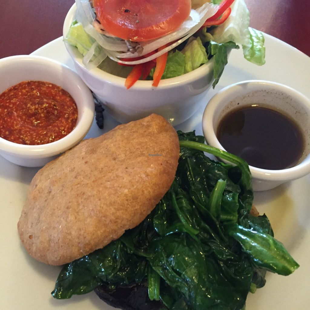 """Photo of 2 Dog Cafe  by <a href=""""/members/profile/TraceyTrexlerJacobs"""">TraceyTrexlerJacobs</a> <br/>portobello mushroom burger, sautéed spinach on homemade wheat bread <br/> April 12, 2016  - <a href='/contact/abuse/image/54194/144181'>Report</a>"""