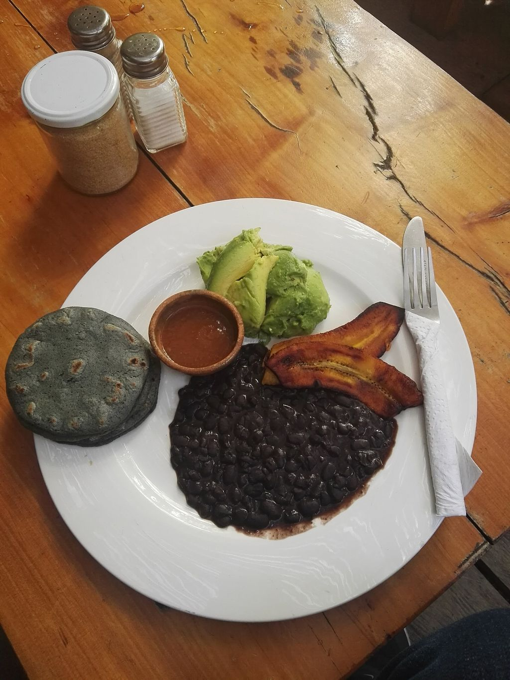 """Photo of Circles Cafe and Hostel  by <a href=""""/members/profile/Caroly"""">Caroly</a> <br/>""""Veganized"""" version of the breakfast """"Tipico"""" which comes normally with egg and white cheese. I got an extra portion of aguacate <br/> December 17, 2017  - <a href='/contact/abuse/image/54261/336551'>Report</a>"""