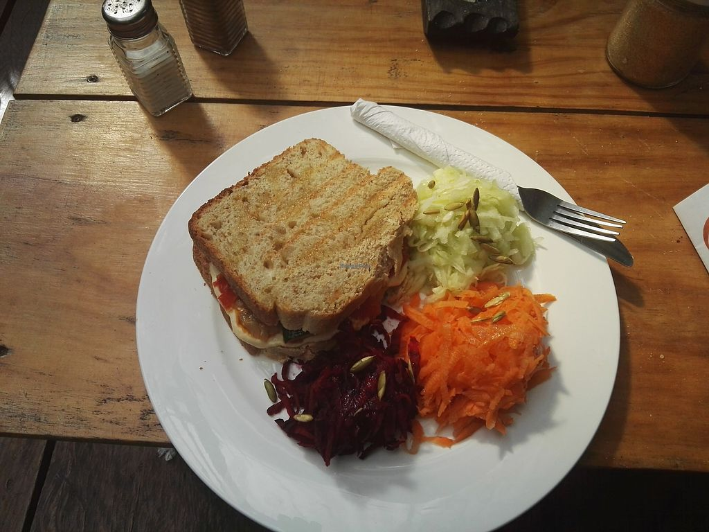 """Photo of Circles Cafe and Hostel  by <a href=""""/members/profile/Caroly"""">Caroly</a> <br/>""""Hummus and roasted vegetables sandwich - Served with salad"""" for 38 Quetzales   <br/> December 17, 2017  - <a href='/contact/abuse/image/54261/336555'>Report</a>"""