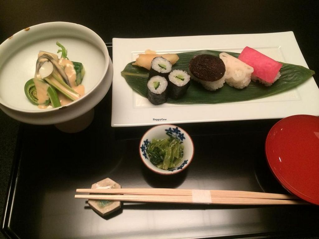 """Photo of Gora Kadan  by <a href=""""/members/profile/Meggie%20and%20Ben"""">Meggie and Ben</a> <br/>Fiddlehead ferns with sesame dressing, fresh wasabi, cucumber roll, and shitake, lotus root, and pickled beet nigiri <br/> February 3, 2015  - <a href='/contact/abuse/image/54263/92164'>Report</a>"""