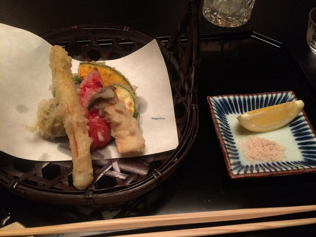 """Photo of Gora Kadan  by <a href=""""/members/profile/Meggie%20and%20Ben"""">Meggie and Ben</a> <br/>Veggie tempura with lemon and salt <br/> February 3, 2015  - <a href='/contact/abuse/image/54263/92167'>Report</a>"""