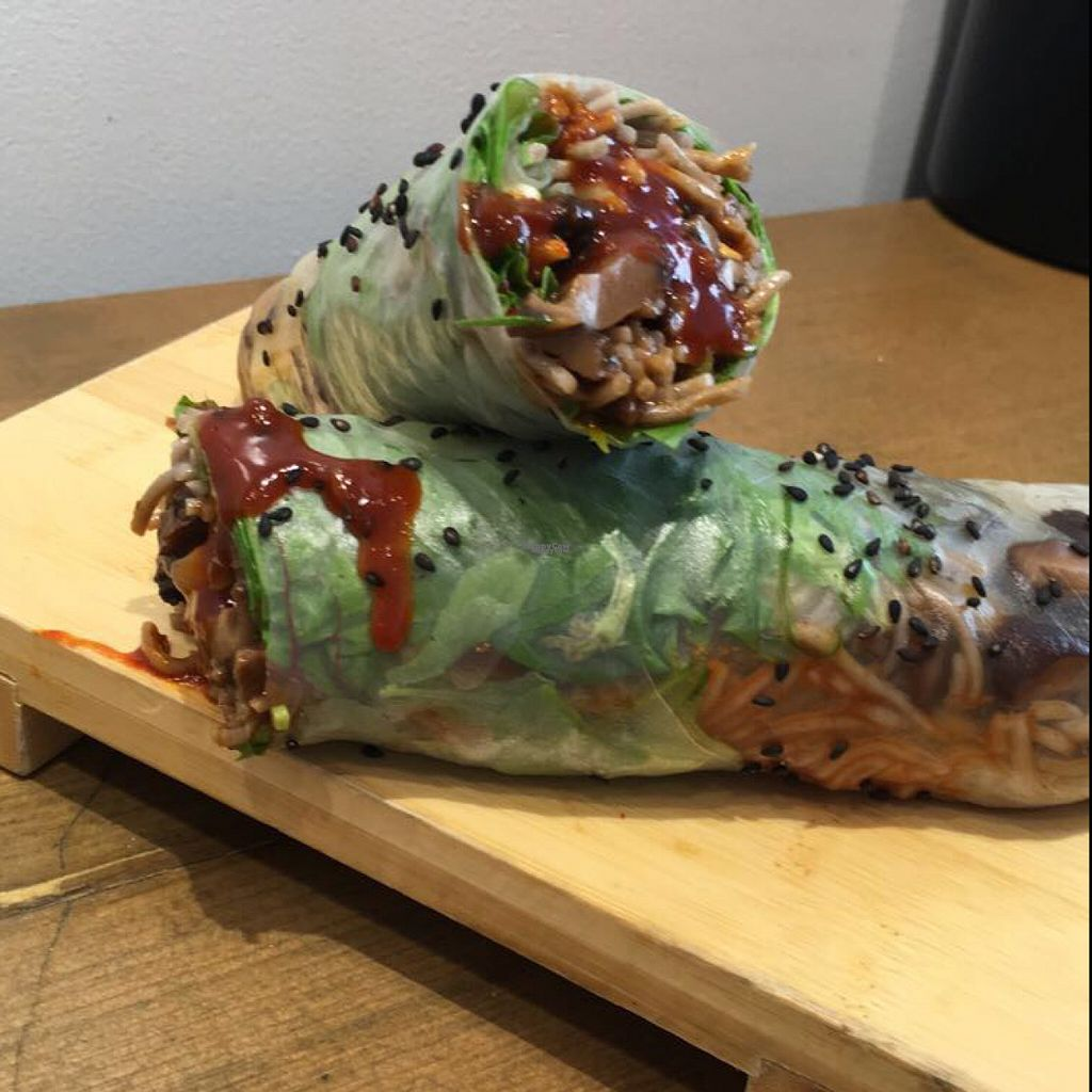 """Photo of Beyond Sushi - Midtown West  by <a href=""""/members/profile/kleinebunteeva"""">kleinebunteeva</a> <br/>Spicy Shroom Rice Paper Wrap <br/> August 12, 2016  - <a href='/contact/abuse/image/54327/168018'>Report</a>"""
