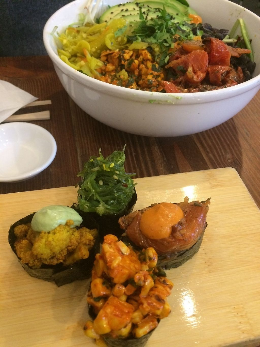 """Photo of Beyond Sushi - Midtown West  by <a href=""""/members/profile/MyGreenTongue"""">MyGreenTongue</a> <br/>Piece Sampler <br/> May 24, 2017  - <a href='/contact/abuse/image/54327/262142'>Report</a>"""