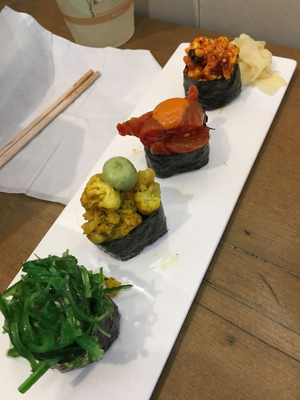 """Photo of Beyond Sushi - Midtown West  by <a href=""""/members/profile/Thepennsyltuckyvegan"""">Thepennsyltuckyvegan</a> <br/>Sushi special <br/> October 17, 2017  - <a href='/contact/abuse/image/54327/315993'>Report</a>"""