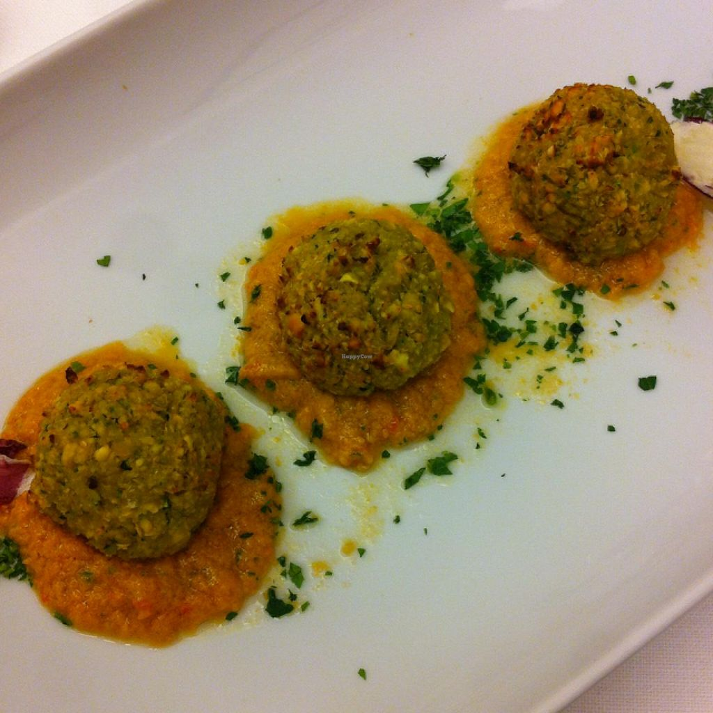 """Photo of Hotel Acler  by <a href=""""/members/profile/hokusai77"""">hokusai77</a> <br/>chickpea balls on gazpacho <br/> January 12, 2015  - <a href='/contact/abuse/image/54328/90233'>Report</a>"""