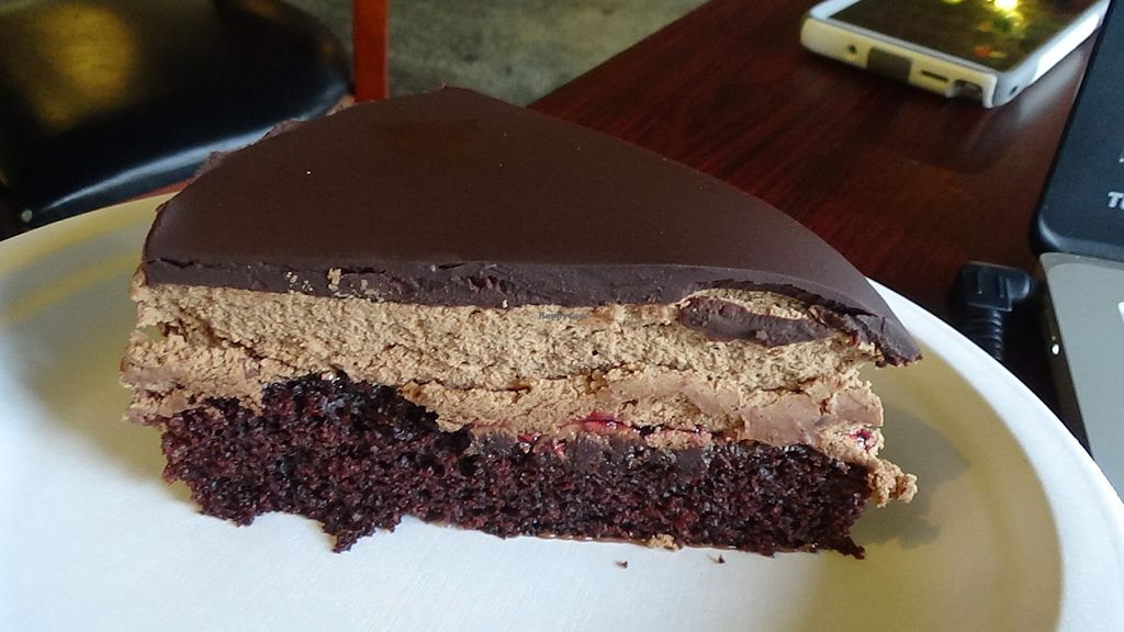 """Photo of Govinda's Cafe  by <a href=""""/members/profile/calamaestra"""">calamaestra</a> <br/>chocolate raspberry mousse <br/> July 6, 2016  - <a href='/contact/abuse/image/54335/158044'>Report</a>"""
