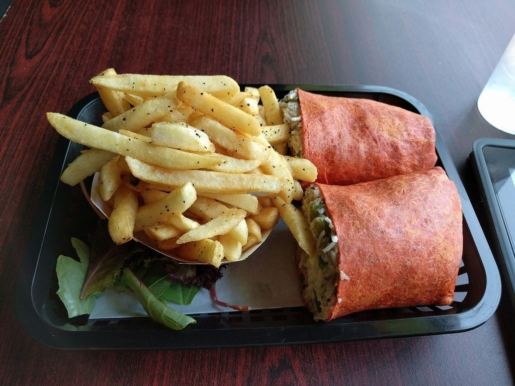 """Photo of Govinda's Cafe  by <a href=""""/members/profile/JohnGardner"""">JohnGardner</a> <br/>Burger's Dream burrito and a side of Brazillian Fries <br/> September 25, 2016  - <a href='/contact/abuse/image/54335/177914'>Report</a>"""