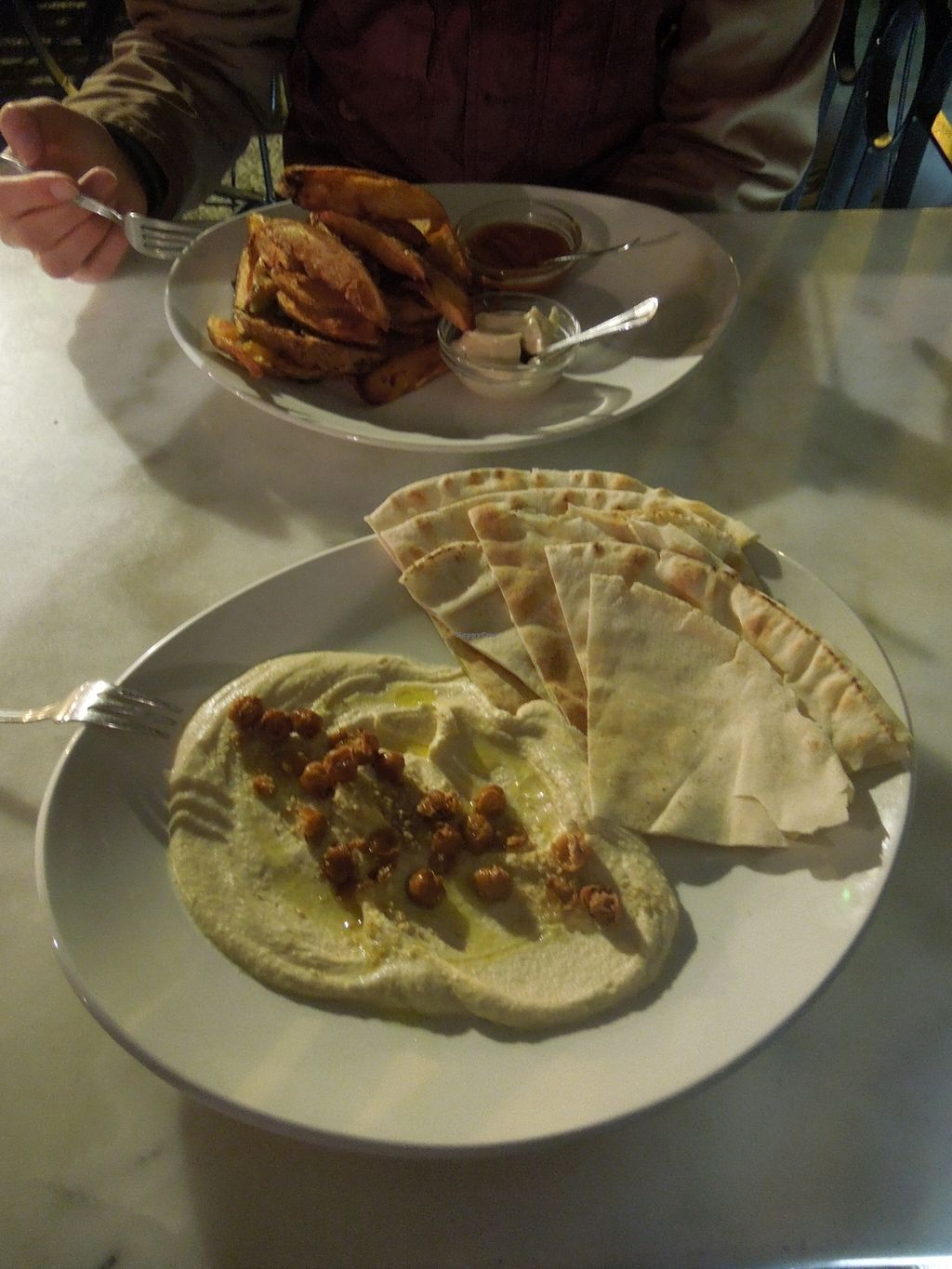 """Photo of Kafe Botanika  by <a href=""""/members/profile/ManuelaEden"""">ManuelaEden</a> <br/>02.16. Hummus with Pita 8,50€ Potato wedges 7€ both very yummy, especially the dips for the wedges were soo good.  <br/> March 1, 2016  - <a href='/contact/abuse/image/54380/138336'>Report</a>"""
