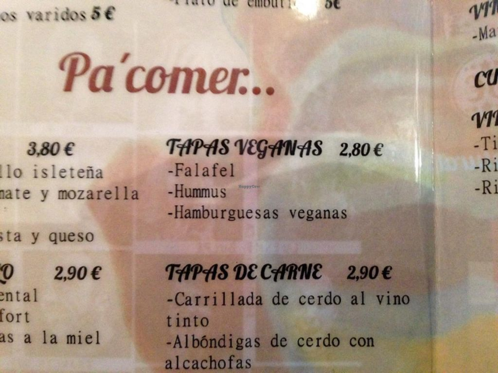 """Photo of La Isleta de La Vina  by <a href=""""/members/profile/ruthi"""">ruthi</a> <br/>Vegan section in the menu! Small but oh so good and nice that they are actually listing the vegan stuff <br/> January 26, 2015  - <a href='/contact/abuse/image/54438/91413'>Report</a>"""