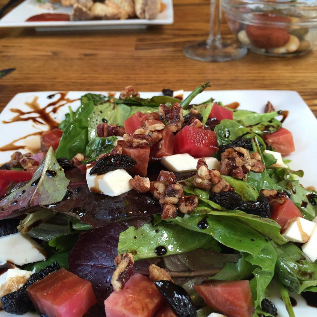 "Photo of CLOSED: Alder Bistro and the Dispensary Lounge  by <a href=""/members/profile/Popster"">Popster</a> <br/>vegan spinach, beet, cherry and pecan salad - the cheese is vegan! <br/> June 5, 2015  - <a href='/contact/abuse/image/54470/104872'>Report</a>"