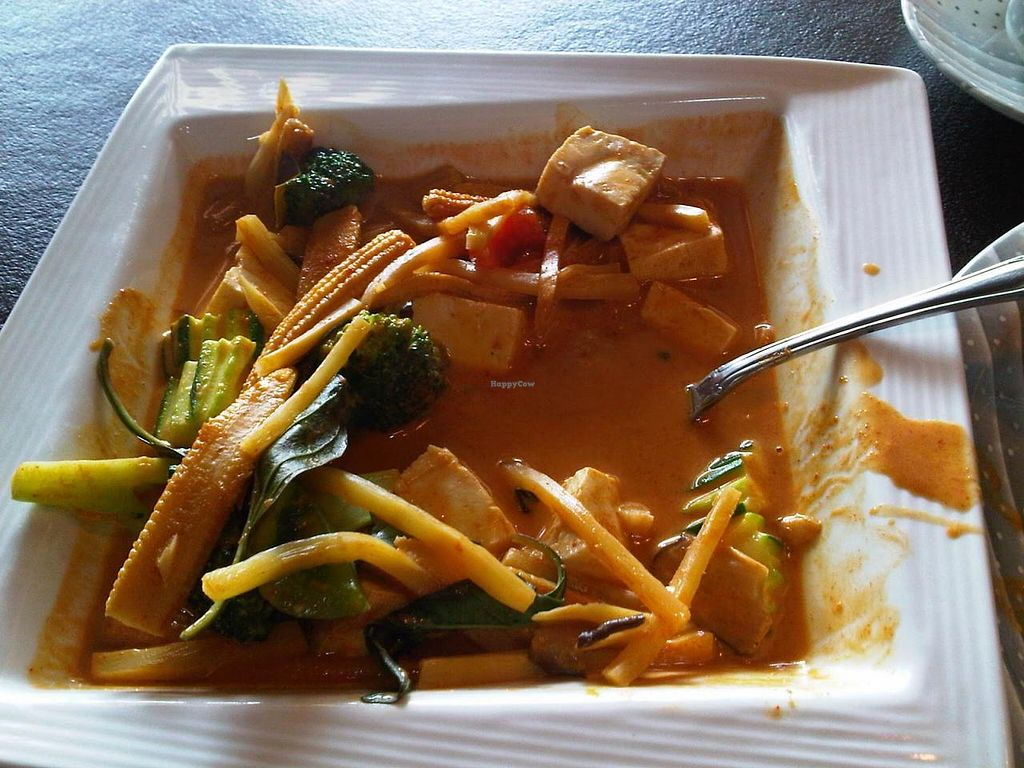 """Photo of Lemon Grass  by <a href=""""/members/profile/Meggie%20and%20Ben"""">Meggie and Ben</a> <br/>Gang-Pak curry: Red coconut curry with of tofu, Thai herbs, sweet Thai basil, baby corn, zucchini, broccoli and bamboo shoots <br/> January 8, 2015  - <a href='/contact/abuse/image/54487/89798'>Report</a>"""