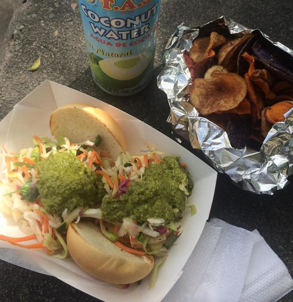 """Photo of Chow Truck - Food Truck  by <a href=""""/members/profile/Meggie%20and%20Ben"""">Meggie and Ben</a> <br/>Tofu sliders made vegan with veggie chips <br/> January 8, 2015  - <a href='/contact/abuse/image/54495/230853'>Report</a>"""