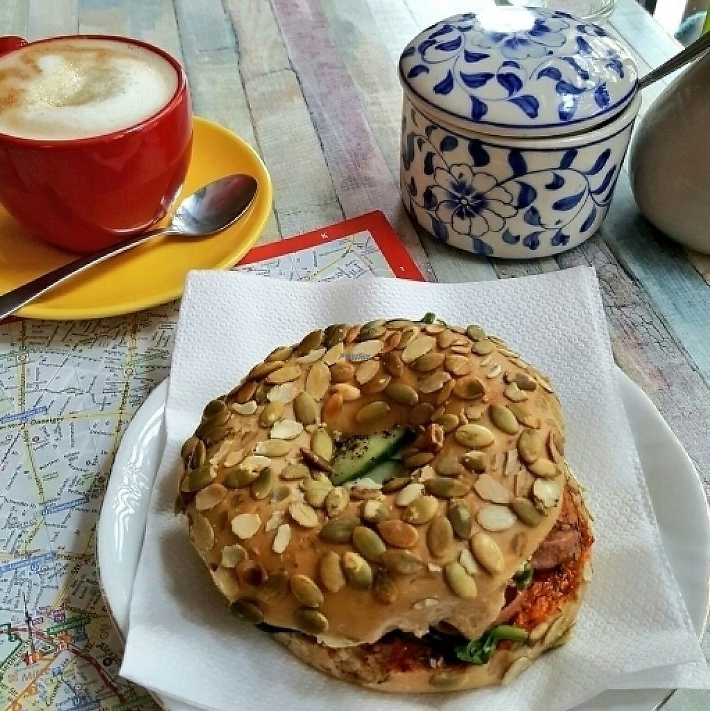 """Photo of Geh Veg  by <a href=""""/members/profile/Architexturburo"""">Architexturburo</a> <br/>Bagel und Cappuccino <br/> February 9, 2017  - <a href='/contact/abuse/image/54502/224569'>Report</a>"""