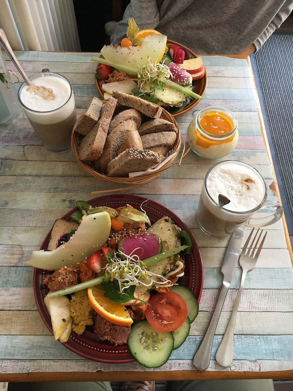 """Photo of Geh Veg  by <a href=""""/members/profile/JouniK%C3%A4rpp%C3%A4"""">JouniKärppä</a> <br/>Big and small breakfast plates. Lattes <br/> February 25, 2018  - <a href='/contact/abuse/image/54502/363717'>Report</a>"""