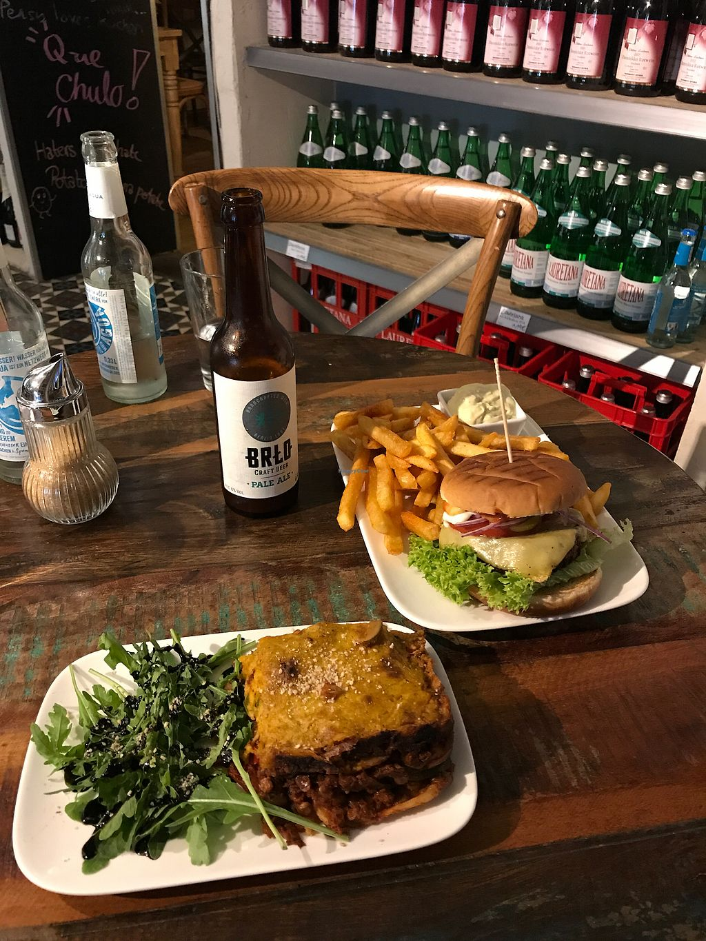 """Photo of Valladares  by <a href=""""/members/profile/bellaskova"""">bellaskova</a> <br/>Delicious vegan lasagna and cheeseburger  <br/> August 29, 2017  - <a href='/contact/abuse/image/54507/298738'>Report</a>"""